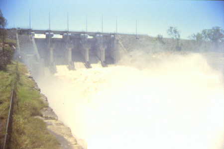 Wivenhoe Dam with flood gates open